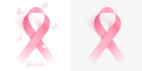 3D pink ribbon and circling butterflies are isolated on a white background. Realistic vector symbol of breast cancer awareness. Same ribbon is placed on a checkered backdrop to show transparency.