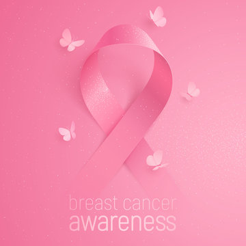 3D pink ribbon smoothly appears from a pink background. Realistic vector symbol of breast cancer awareness. Five butterflies circling around the sign. Conceptual poster with glittering effect.