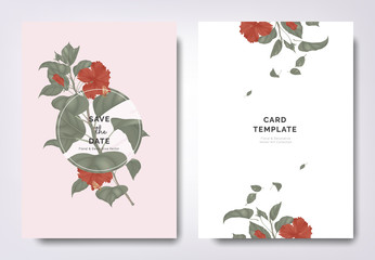 Botanical wedding invitation card template design, red hibiscus flowers and leaves with circle frame on red background, minimalist vintage style