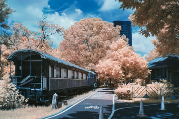 infrared photo of vintage train in park