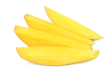 mango slices isolated on white background. healthy food.