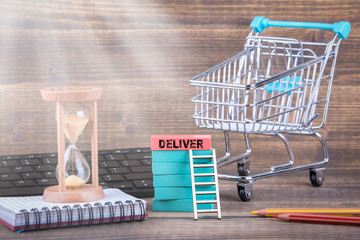 express deliver, online store, startup and logistics concept. Colorful Wooden Blocks