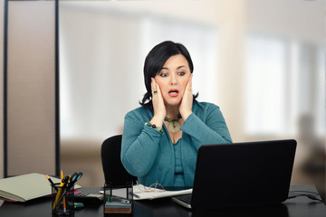 Mature office worker receives dismiss letter by email
