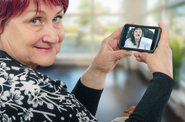 Woman virtual doctor gives advice on mobile phone