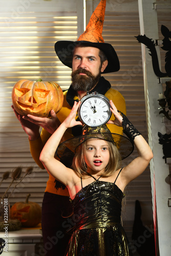 Little Girl Going To Celebrate Halloween Soon Little Girl With