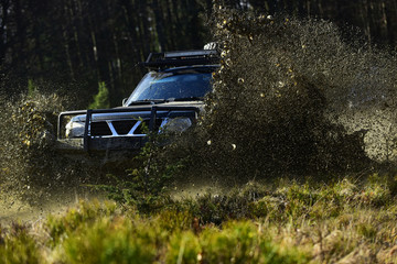 SUV or offroad car on path covered with grass crossing puddle with dirt splash. Extreme, challenge and 4x4 vehicle concept. Car racing in autumn forest. Offroad race on fall nature background