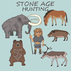 stone age hunter with prey examples cartoon