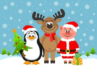 Pig in Santa Claus costume, funny reindeer and cute penguin. Greeting card for Christmas or New Year on a blue background. Cartoon characters with christmas tree and gift box. Flat style. Vector.