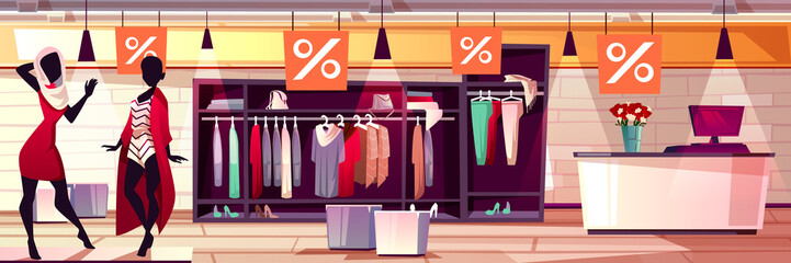 Fashion boutique interior vector illustration of women clothes and dresses sale. Womenswear mannequin on shop window display and cashier checkout on cartoon background