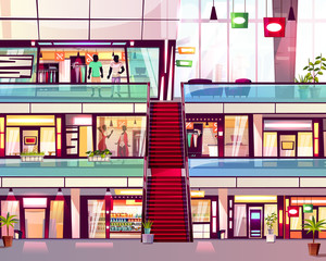 Mall shops with escalator staircase vector illustration. Modern multistory floor trade center with menswear and womenswear fashion boutique window displays with a sale, cafe and grocery store