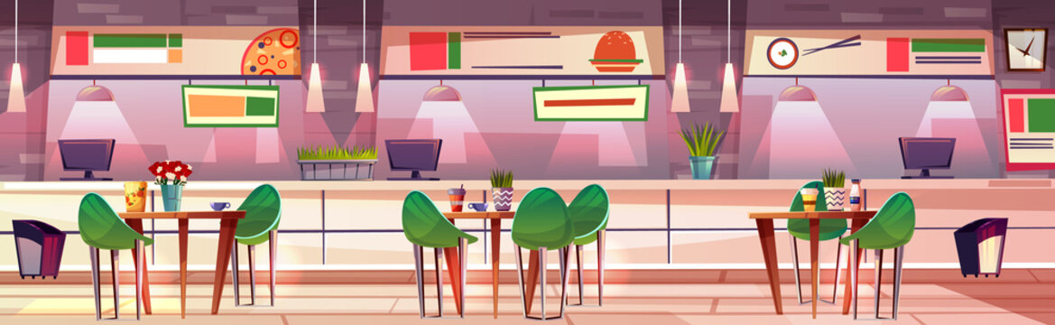 Food court in mall shop vector illustration of cafe interior. Sushi, pizza and fast food burgers cafeteria in trade store with tables and chairs at counters