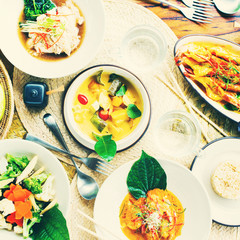 Table top view with Thai traditional cuisine