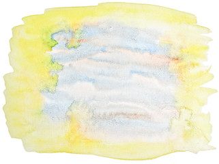 Light yellow pastel watercolor abstract background, spot, splash of paint, stain, divorce. Sunny vintage pattern for design and decoration. With space for text