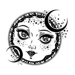 Beautiful magic night crescent moon face girl.