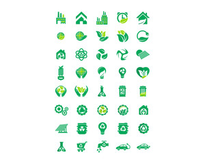 green nature natural plant herb image vector icon logo set