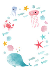 Watercolor sea life composition