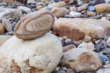 Piedras rodadas en la orilla de un río.