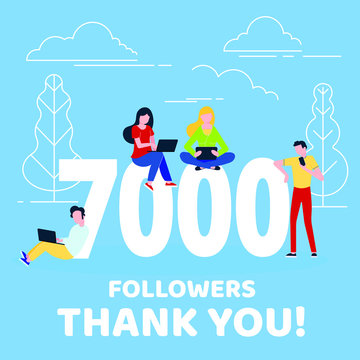 Thank you 7000 followers numbers postcard. People man, woman big numbers flat style design 7k thanks vector illustration isolated on confetti background. Template for internet media and social network
