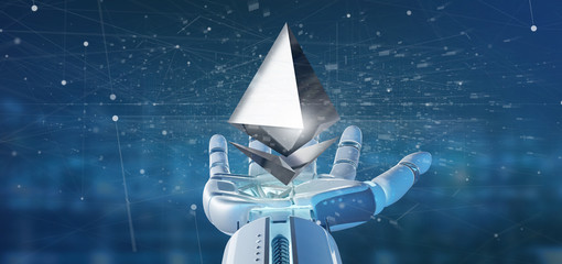 Cyborg hand holding a Ethereum crypto currency sign flying around a network connection - 3d rendering