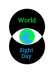 World Sight Day. Concept of a holiday of health. Symbolic image of the eye. Iris is the planet Earth. Two circles forming the eye