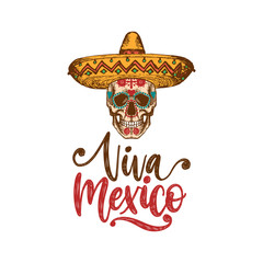Viva Mexico, hand lettering. Vector calligraphy with illustration of skull in sombrero for greeting card, poster design.