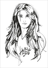 beauty girl face on a white background. Fashion girl. Vector illustration