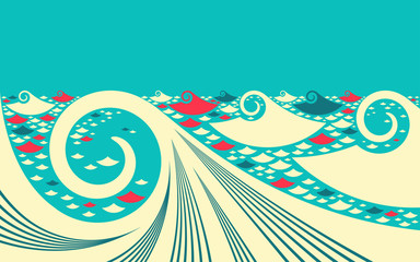 asian graphic ocean in sky blue ivory red shades