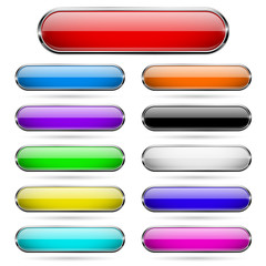 Colored glass 3d buttons with chrome frame. Oval icons