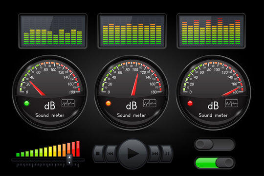 Decibel sound meter with equalizer and buttons. Black user interface