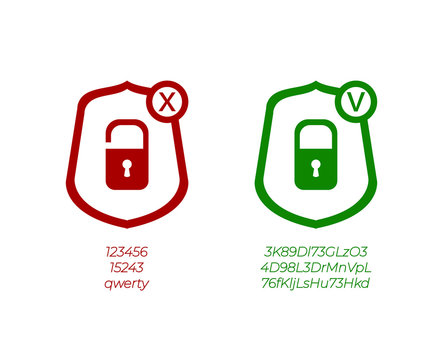 Vector Password Management Icons, Weak and Strong Passwords, Green and Red Signs.