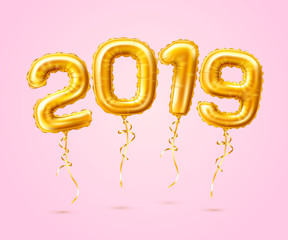 Realistic 2019 golden air balloons new year vector