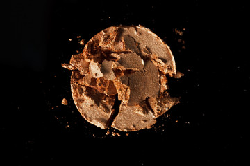 the texture of eye shadow And a black background