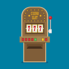 Slot machine in Flat style. vector illustration
