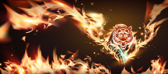 Tiger with burning flame