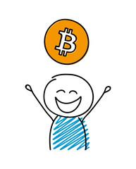 Happy stickman with bitcoin icon. Vector.