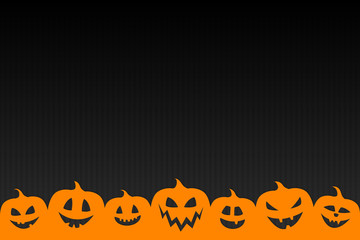 Empty Halloween card with silhouettes of pumpkins. Vector.