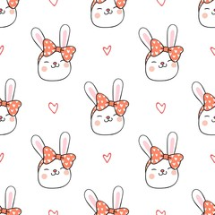 Seamless pattern background head rabbit on white