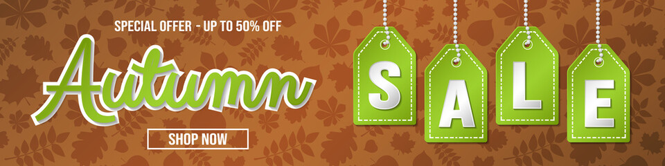 Autumn Sale - colourful banner. Vector.