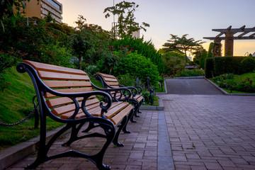 横浜 みなとみらい 公園 ベンチ
