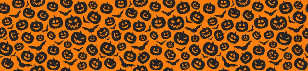 Concept of Halloween pattern with pumpkins. Vector. Fotoväggar