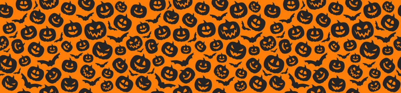 Concept of Halloween pattern with pumpkins. Vector.