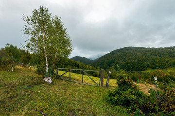 grassy rural field behind the wooden fence with barbwire. rainy september weather. distant mountains in clouds and haze