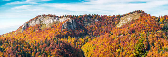 panorama of Pietrele Negre rock formation in Arieseni. gorgeous location of Apuseni Natural Park in Romania