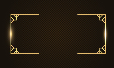Gold rectangle luxury glow thin line box, frame, border, decorative design elements. Horizontal banner with golden bokeh isolated on dark, black background. Vector background for information, text.