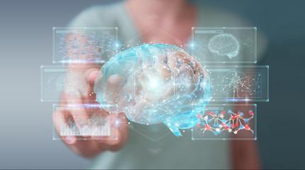 Businesswoman using digital 3D projection of a human brain 3D rendering