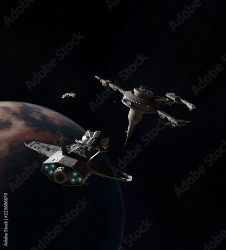 """Spaceships approaching a Space Station Above an Alien Planet - science fiction illustration"" Stock photo and royalty-free images on Fotolia.com - Pic 223686670"