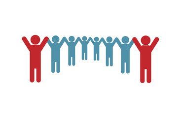 A flat icon of teamwork. Silhouettes of a team of people holding hands