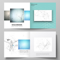 Vector layout of two covers templates for square design bifold brochure, flyer, booklet. Technology, science, medical concept. Molecule structure, connecting lines and dots. Futuristic background