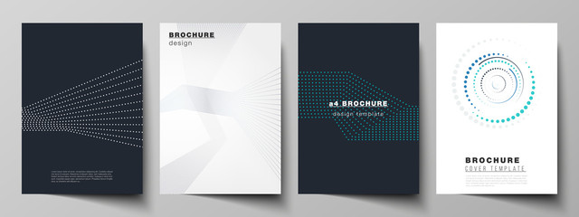 Obraz The vector illustration of the editable layout of A4 format cover mockups design templates with geometric background made from dots, circles for brochure, magazine, flyer, booklet, annual report. - fototapety do salonu