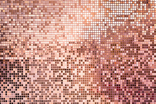 Pink rose gold square mosaic tiles for background
